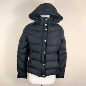 J Crew Down Filled Black Puffer Coat Hooded